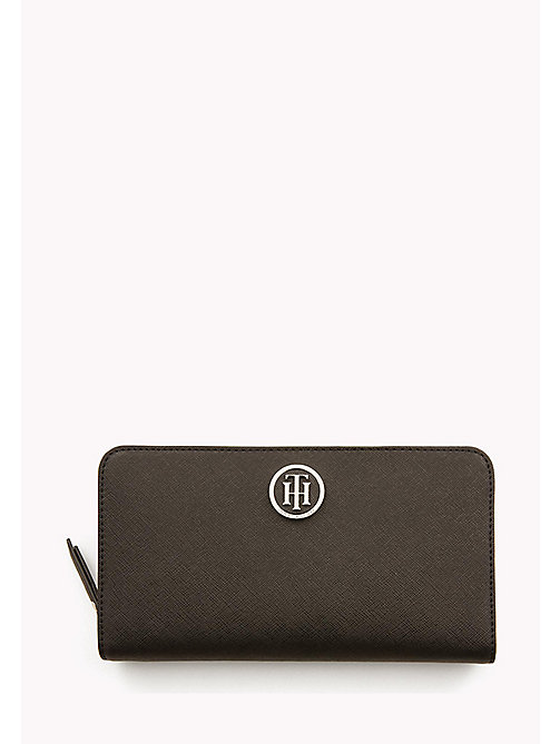 TOMMY HILFIGER Logo Zip Around Wallet - BLACK/ TAPIOCA - TOMMY HILFIGER Wallets - main image