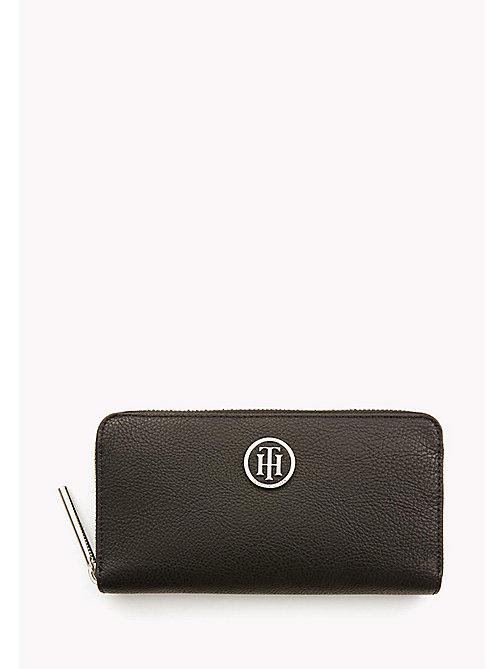 TOMMY HILFIGER Zip-Around Monogram Purse - BLACK - TOMMY HILFIGER Bags & Accessories - main image