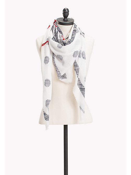 TOMMY HILFIGER Dot Print Cotton Scarf - CORPORATE - TOMMY HILFIGER Scarves - main image