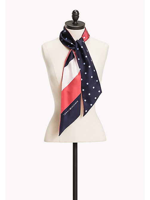 TOMMY HILFIGER Silk Bow Scarf - PEACOAT- CRIMSON - TOMMY HILFIGER NEW IN - main image