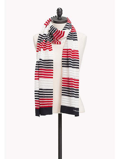 TOMMY HILFIGER Stripe Print Scarf - TOMMY RED-TOMMY NAVY - TOMMY HILFIGER Bags & Accessories - main image