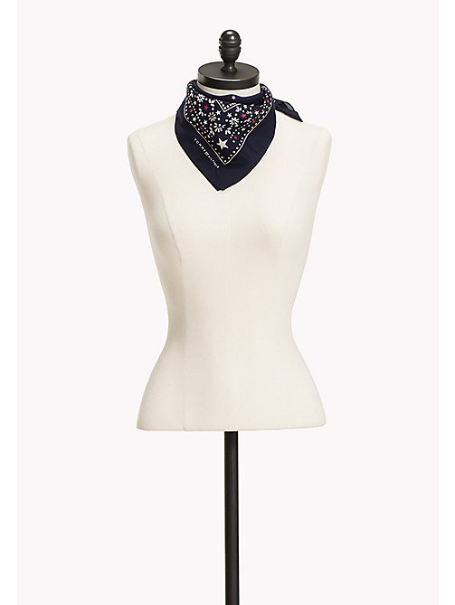 TOMMY HILFIGER Cotton Silk Bandana - PEACOAT - TOMMY HILFIGER Scarves - main image