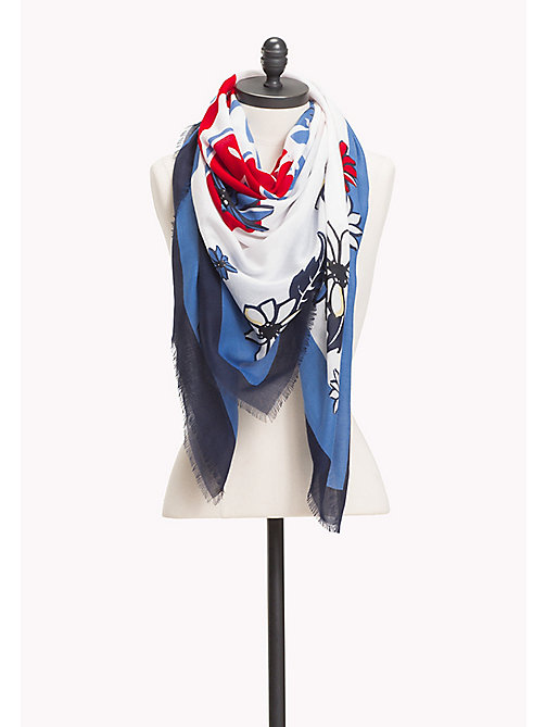 TOMMY HILFIGER Floral Square Scarf - TOMMY NAVY - TOMMY HILFIGER VACATION FOR HER - main image