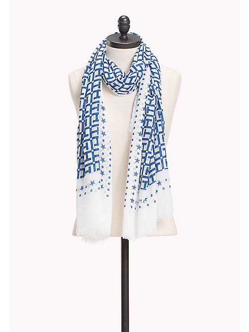 TOMMY HILFIGER Lightweight Large Monogram Print Scarf - BRIGHT WHITE-DUTCH BLUE - TOMMY HILFIGER Scarves - main image