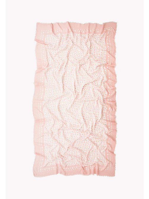 TOMMY HILFIGER Lightweight Large Monogram Print Scarf - ORCHID PINK- BRIGHT WHITE - TOMMY HILFIGER Bags & Accessories - detail image 1