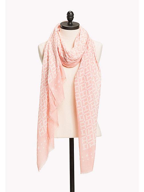 TOMMY HILFIGER Lightweight Large Monogram Print Scarf - ORCHID PINK- BRIGHT WHITE - TOMMY HILFIGER VACATION FOR HER - main image