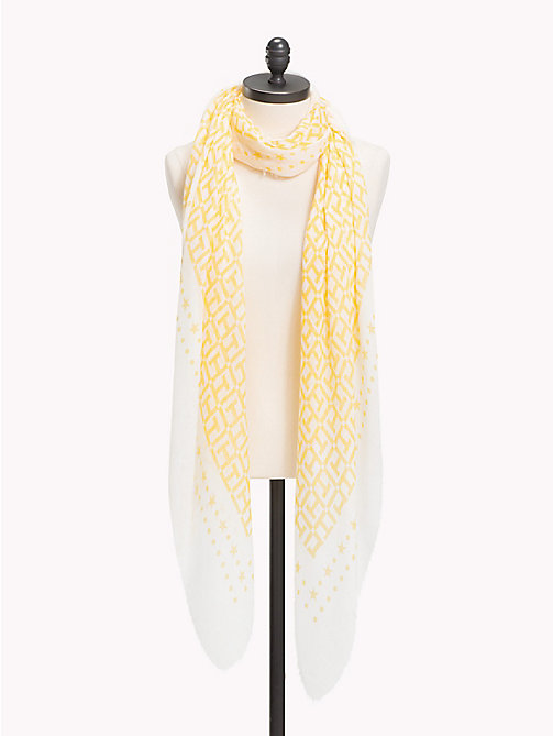 TOMMY HILFIGER Lightweight Large Monogram Print Scarf - TAPIOCA- SUNSHINE - TOMMY HILFIGER VACATION FOR HER - main image