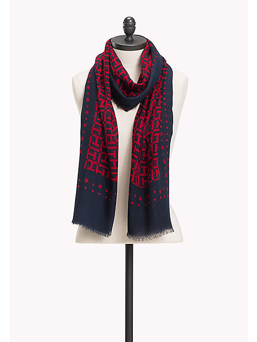 TOMMY HILFIGER Lightweight Large Monogram Print Scarf - TOMMY NAVY- TOMMY RED - TOMMY HILFIGER Scarves - main image