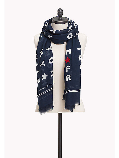 TOMMY HILFIGER Sjaal met logoprint - TOMMY NAVY - TOMMY HILFIGER NIEUW - main image