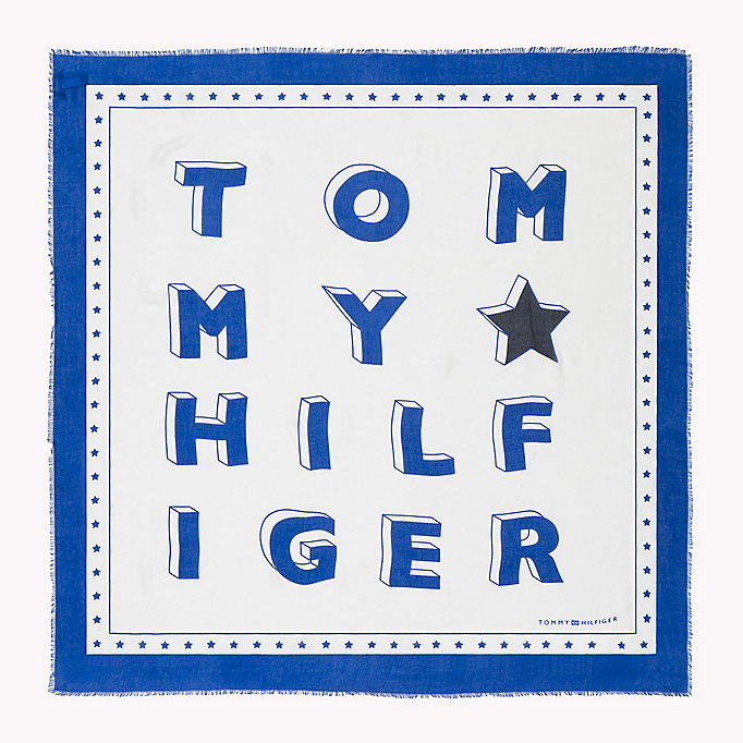 TOMMY HILFIGER Logo Print Square Scarf - TOMMY NAVY - TOMMY HILFIGER Women - detail image 1