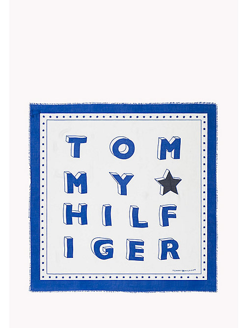 TOMMY HILFIGER Logo Print Square Scarf - BRIGHT WHITE - TOMMY HILFIGER NEW IN - detail image 1