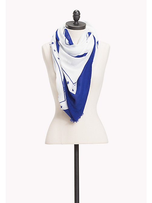TOMMY HILFIGER Logo Print Square Scarf - BRIGHT WHITE - TOMMY HILFIGER NEW IN - main image