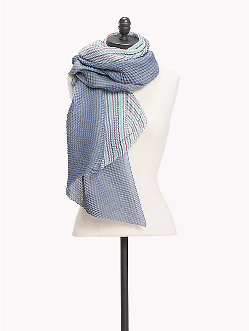 TOMMY HILFIGER Pleated Stripe Print Scarf - TOMMY NAVY MIX - TOMMY HILFIGER VACATION FOR HER - main image