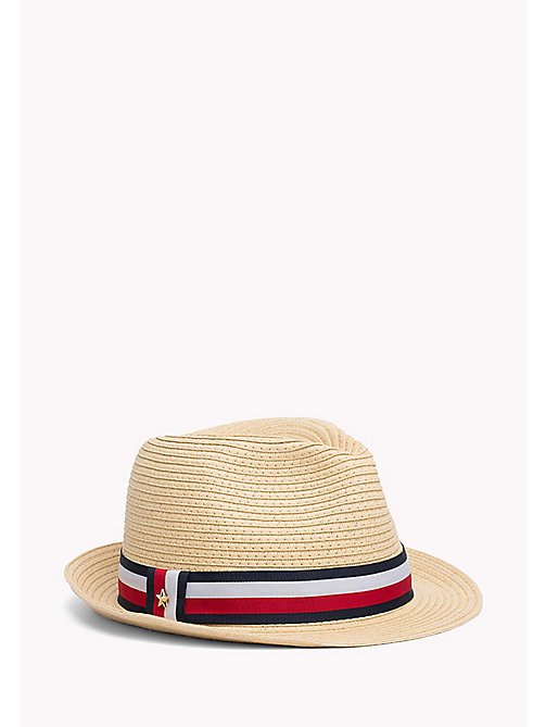 TOMMY HILFIGER Stripe Band Straw Hat - NATURAL - TOMMY HILFIGER Hats - main image