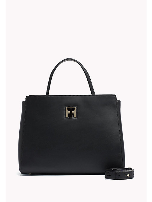 TOMMY HILFIGER Leather Tote Bag - BLACK - TOMMY HILFIGER Bags & Accessories - main image