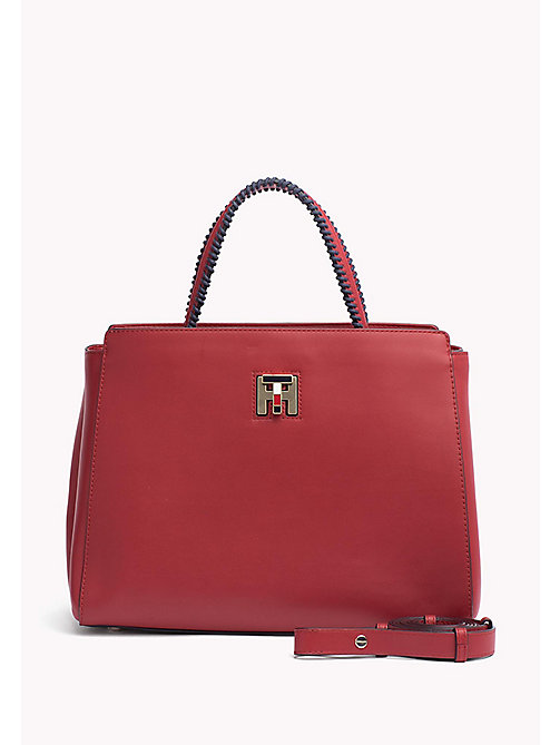 TOMMY HILFIGER Contrast Handle Tote Bag - TANGO RED - TOMMY HILFIGER Tote Bags - main image