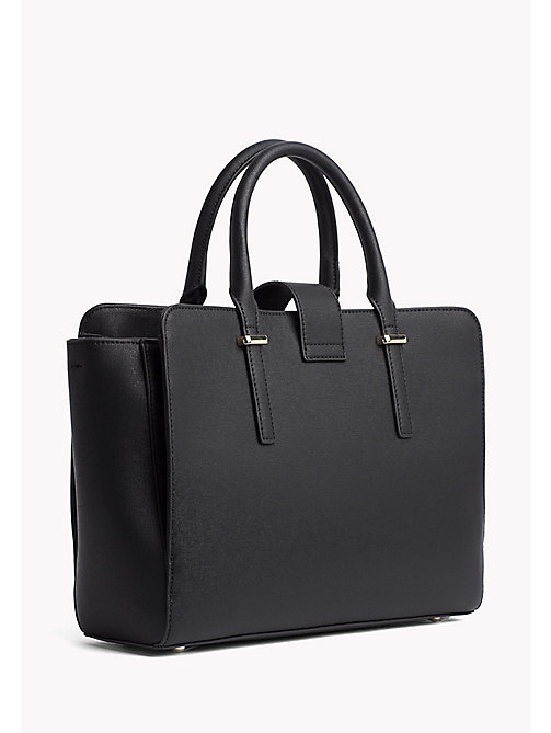 TOMMY HILFIGER Elegant Two-Tone Satchel - BLACK - TOMMY HILFIGER The Office Edit - detail image 1