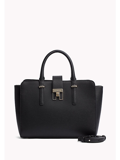 TOMMY HILFIGER Elegant Two-Tone Satchel - BLACK - TOMMY HILFIGER The Office Edit - main image