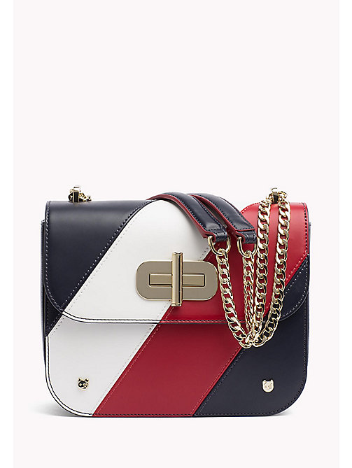 TOMMY HILFIGER Leren crossbodytas met diagonale strepen - CORPORATE - TOMMY HILFIGER Crossbodytassen - main image