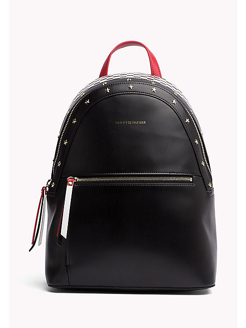 TOMMY HILFIGER Racer Style Backpack - BLACK/ CHECKERBOARD - TOMMY HILFIGER Backpacks - main image