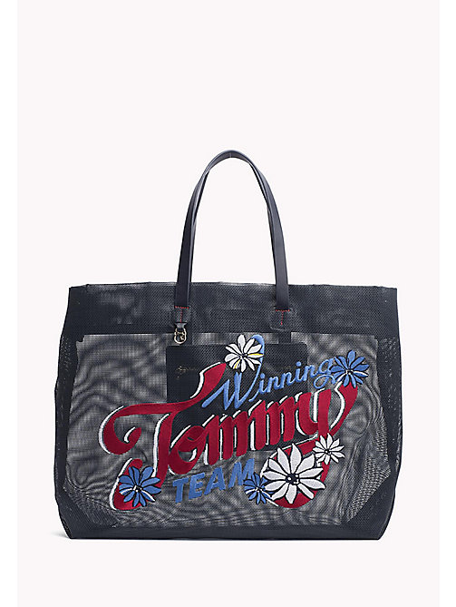 TOMMY HILFIGER Shopper met bloemenprint - TOMMY NAVY/ EMBROIDERY - TOMMY HILFIGER Shoppers - main image