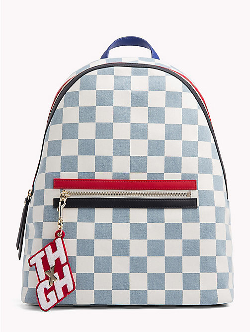 TOMMY HILFIGER Gigi Hadid Denim Flag Backpack - DNM CHECKERBOARD - TOMMY HILFIGER Bags & Accessories - main image