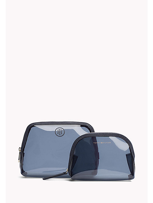 TOMMY HILFIGER Clear Two-in-One Wash Bag - TRANSPARENT NAVY - TOMMY HILFIGER Make Up Bags - main image