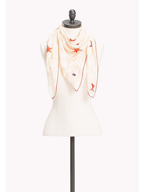 TOMMY JEANS Star Print Scarf - OATMEAL-BRIGHT WHITE - TOMMY JEANS Tommy Jeans Shoes & Accessories - main image