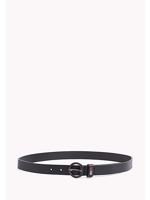 TOMMY JEANS Round Buckle Leather Belt - BLACK - TOMMY JEANS Tommy Jeans Shoes & Accessories - main image