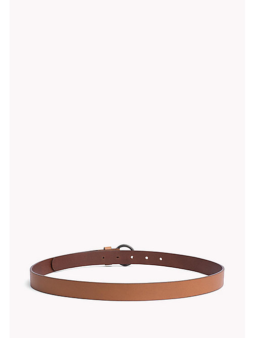 TOMMY JEANS Round Buckle Leather Belt - DARK TAN - TOMMY JEANS Tommy Jeans Shoes & Accessories - detail image 1