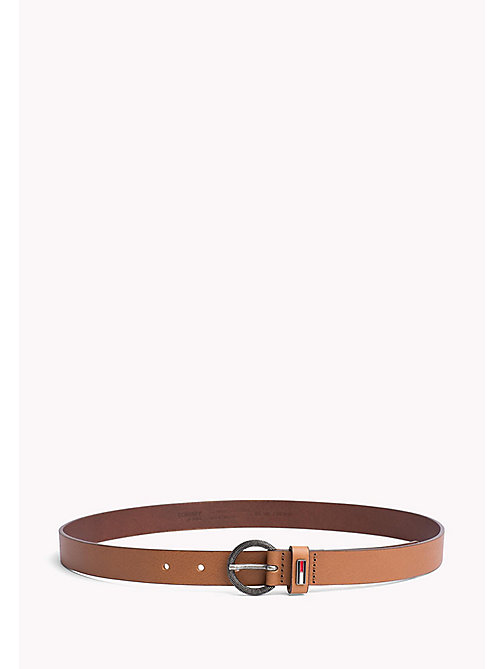 TOMMY JEANS Round Buckle Leather Belt - DARK TAN - TOMMY JEANS Tommy Jeans Shoes & Accessories - main image