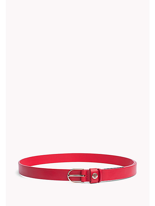 TOMMY HILFIGER Metal Detail Leather Belt - TOMMY RED - TOMMY HILFIGER NEW IN - main image