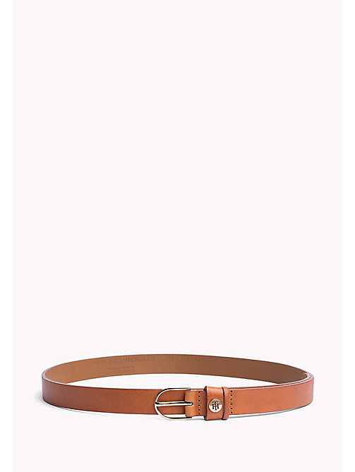 TOMMY HILFIGER Metal Detail Leather Belt - DARK TAN - TOMMY HILFIGER Belts - main image