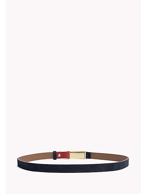 TOMMY HILFIGER Metal Plaque Leather Belt - TOMMY NAVY- TOMMY RED - TOMMY HILFIGER NEW IN - detail image 1