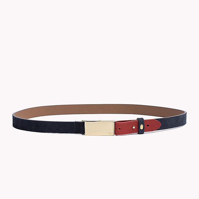 TOMMY HILFIGER Metal Plaque Leather Belt - NEUTRAL-TAN - TOMMY HILFIGER Women - main image