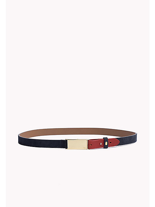 TOMMY HILFIGER Metal Plaque Leather Belt - TOMMY NAVY-TOMMY RED - TOMMY HILFIGER NEW IN - main image