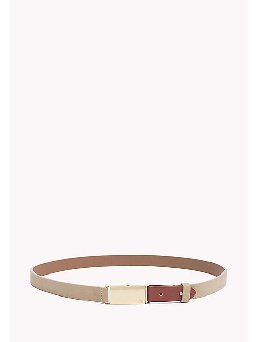 TOMMY HILFIGER Metal Plaque Leather Belt - NEUTRAL-TAN - TOMMY HILFIGER Bags & Accessories - main image
