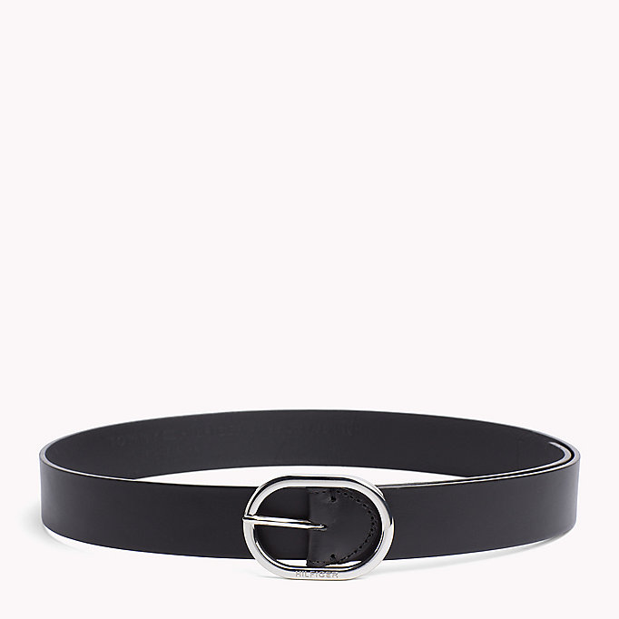 TOMMY HILFIGER Oval Buckle Leather Belt - DARK TAN - TOMMY HILFIGER Women - main image
