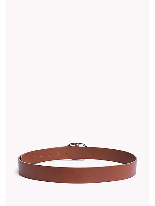 TOMMY HILFIGER Oval Buckle Leather Belt - DARK TAN - TOMMY HILFIGER Belts - detail image 1