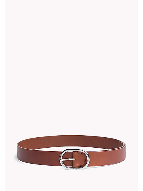 TOMMY HILFIGER Oval Buckle Leather Belt - DARK TAN - TOMMY HILFIGER Belts - main image