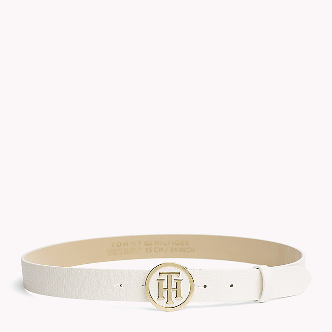 TOMMY HILFIGER Statement Round Buckle Leather Belt - TOMMY NAVY - TOMMY HILFIGER Women - main image