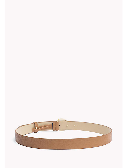 TOMMY HILFIGER Statement Round Buckle Leather Belt - DARK TAN - TOMMY HILFIGER Belts - detail image 1