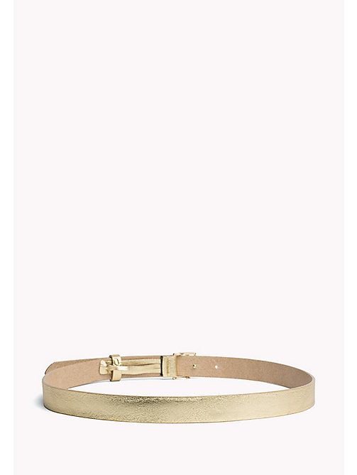 TOMMY HILFIGER Statement Buckle Leather Belt - LIGHT GOLD - TOMMY HILFIGER Bags & Accessories - detail image 1