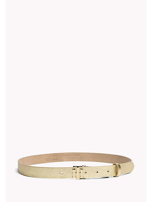 TOMMY HILFIGER Statement Buckle Leather Belt - LIGHT GOLD - TOMMY HILFIGER Gürtel - main image