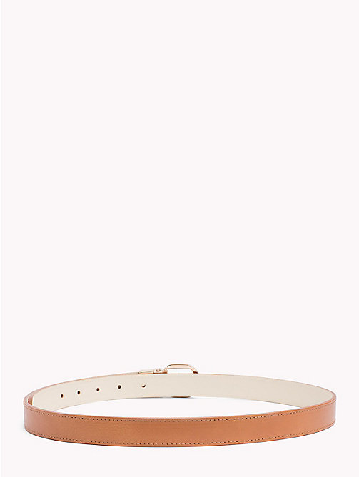 TOMMY HILFIGER Reversible Slim Leather Belt - TAN-IVORY - TOMMY HILFIGER Belts - detail image 1