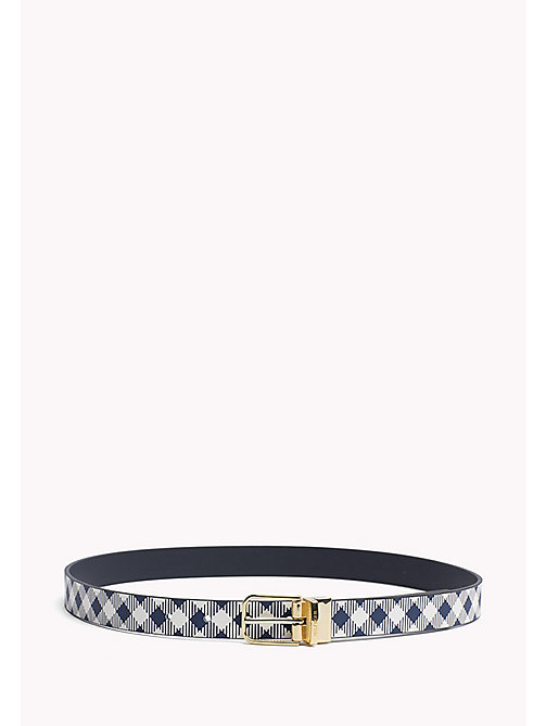 TOMMY HILFIGER Reversible Leather Belt - GINGHAM-TOMMY NAVY - TOMMY HILFIGER Belts - main image