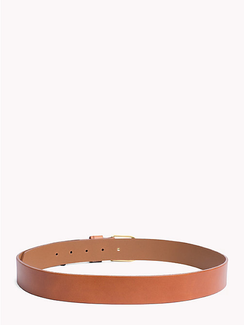 TOMMY HILFIGER Sleek Buckle Leather Belt - DARK TAN - TOMMY HILFIGER Belts - detail image 1