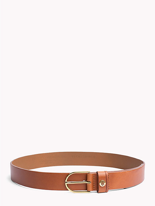 TOMMY HILFIGER Sleek Buckle Leather Belt - DARK TAN - TOMMY HILFIGER Belts - main image