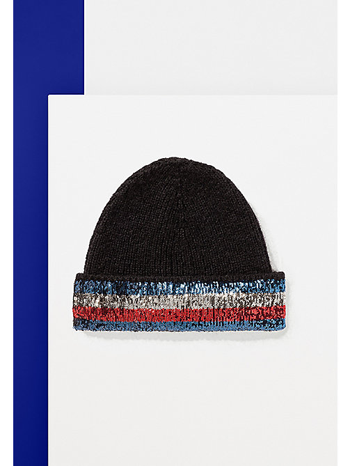 TOMMY HILFIGER Mohair Blend Sequin Beanie - BLACK - TOMMY HILFIGER Bags & Accessories - main image
