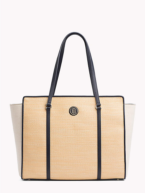 TOMMY HILFIGER Raffia Tote Bag - RAFFIA/ TOMMY NAVY - TOMMY HILFIGER VACATION FOR HER - main image